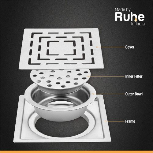Ruhe Stainless Steel Drain Square with Trap